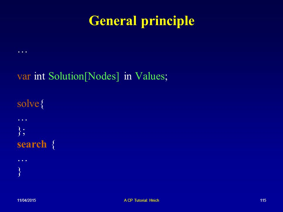General principle … var int Solution[Nodes] in Values; solve{ };